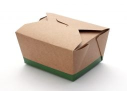 Cardboard Take Out Box isolated on white background. The image is shown at an angle, and is in full focus from front to back.